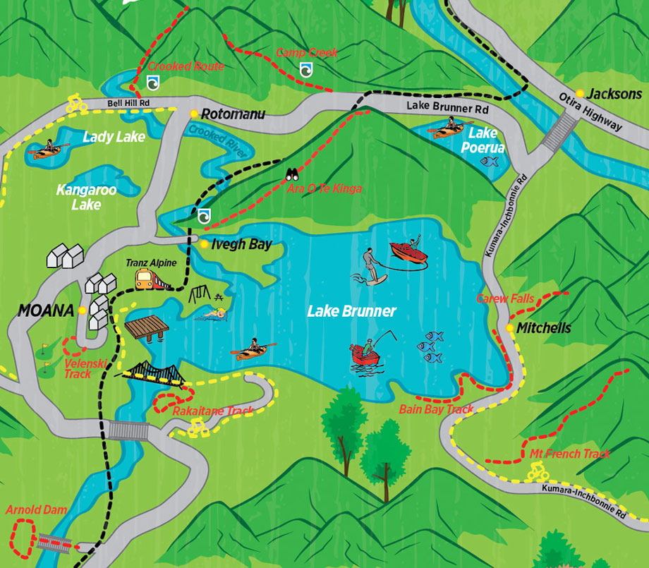 Lake Brunner walks map