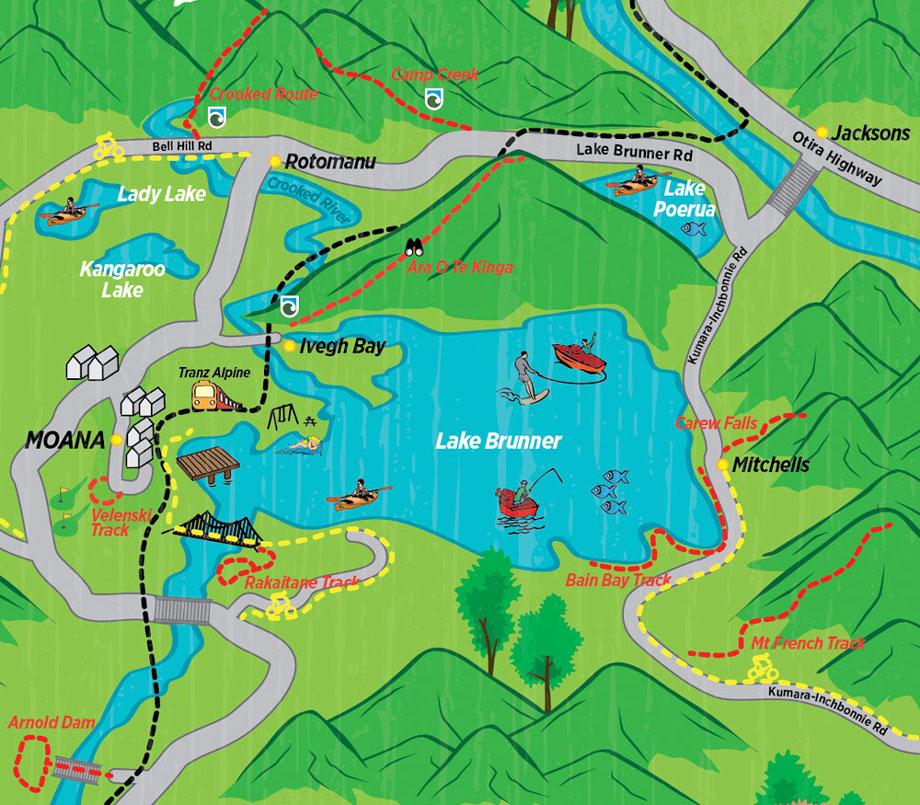 Lake Brunner walks map